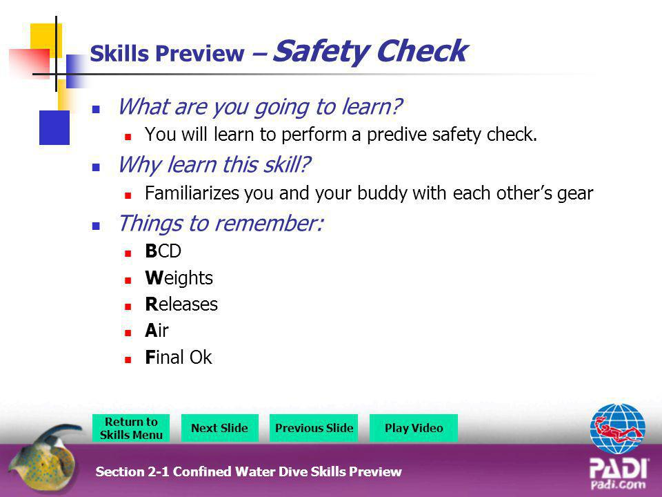 Skills Preview – Safety Check
