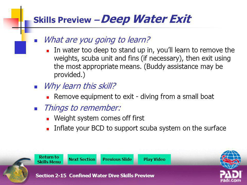 Skills Preview – Deep Water Exit