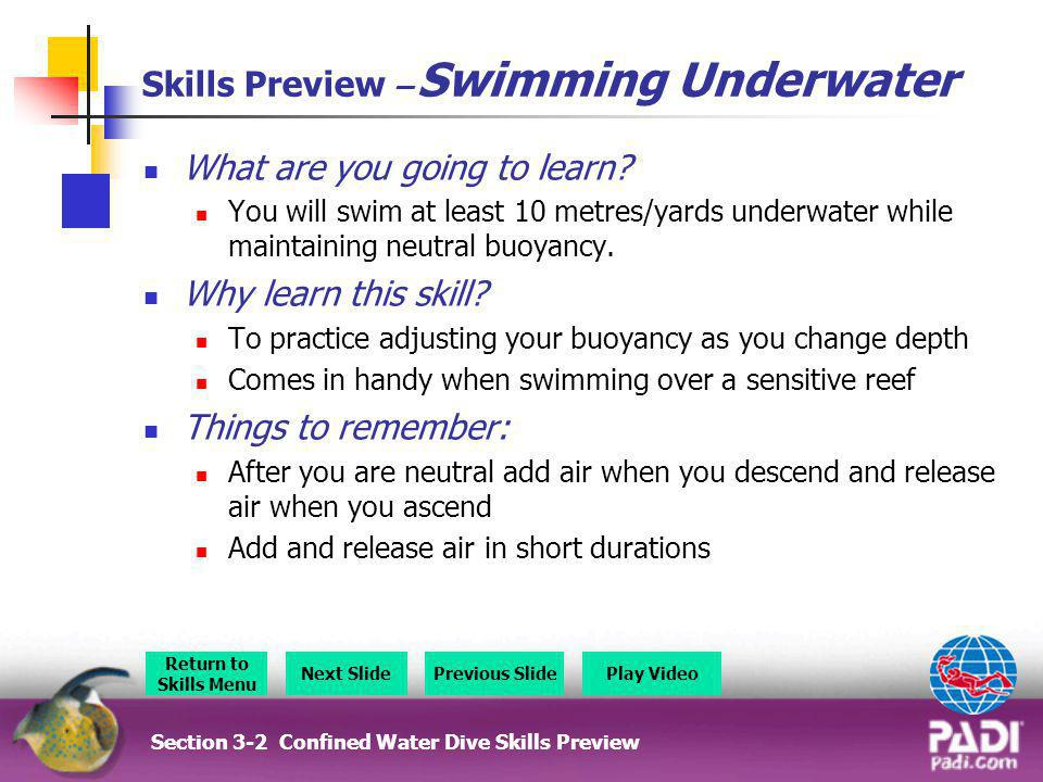 Skills Preview – Swimming Underwater