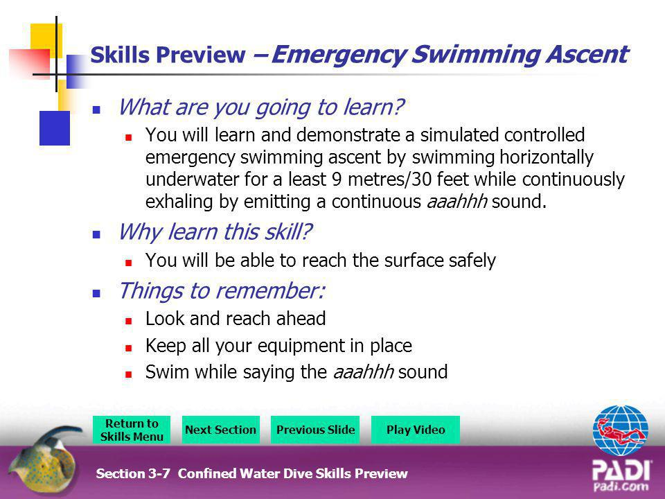Skills Preview – Emergency Swimming Ascent