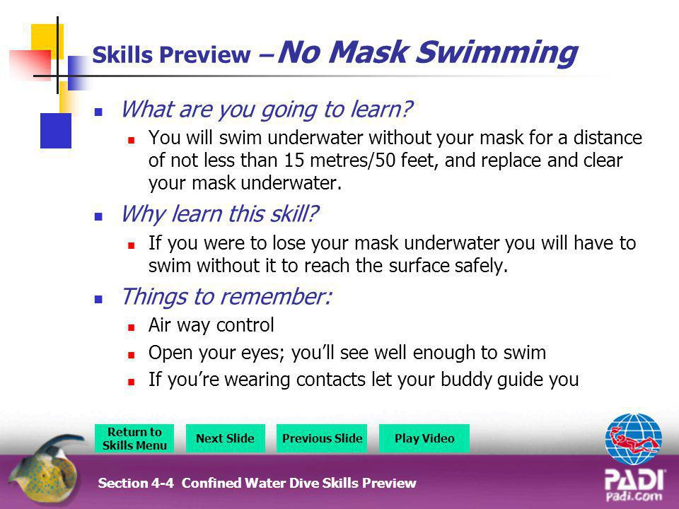 Skills Preview – No Mask Swimming
