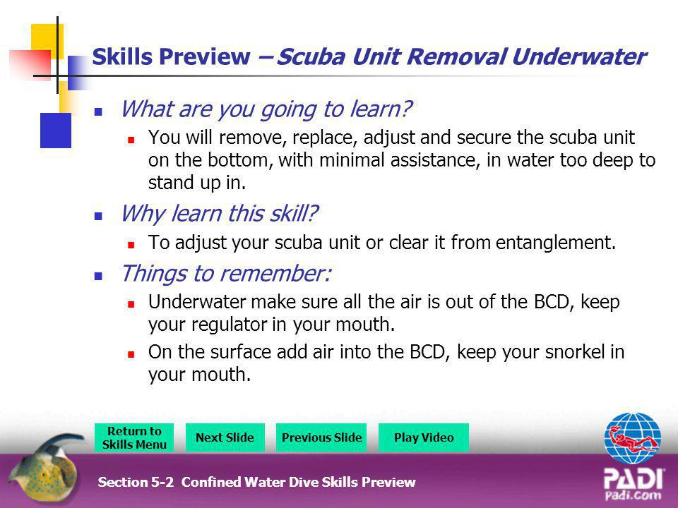 Skills Preview – Scuba Unit Removal Underwater