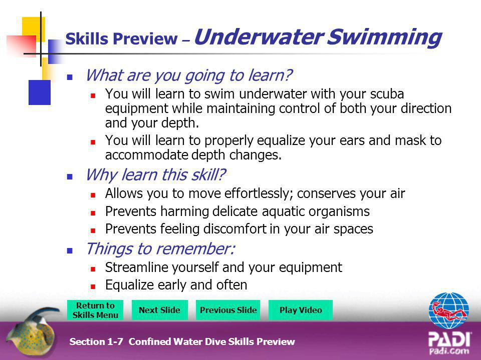 Skills Preview – Underwater Swimming