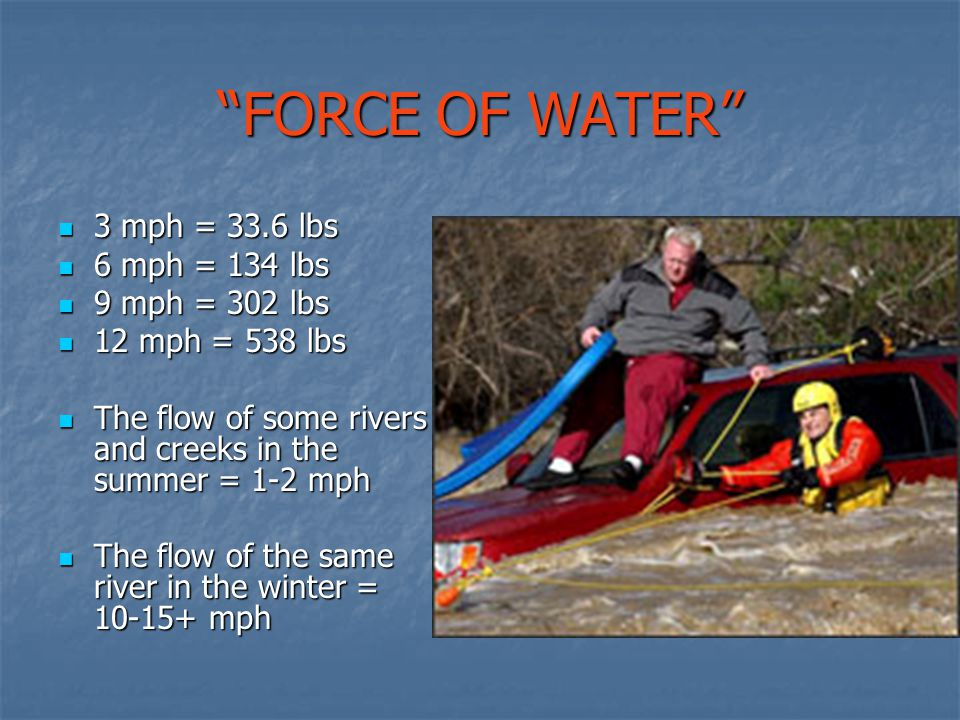 FORCE OF WATER 3 mph = 33.6 lbs 6 mph = 134 lbs 9 mph = 302 lbs