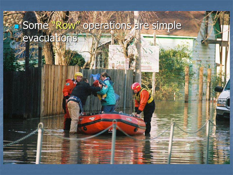 Some Row operations are simple evacuations