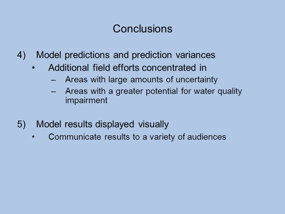 Conclusions Model predictions and prediction variances