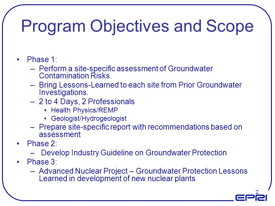 Program Objectives and Scope
