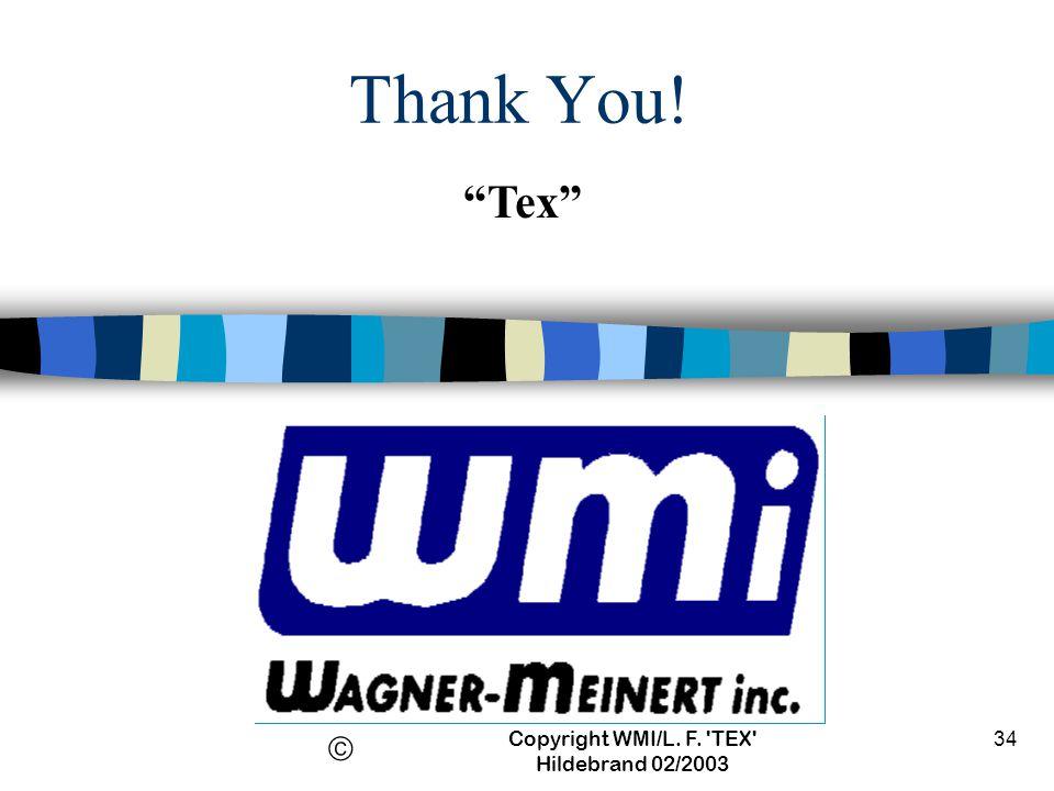 Copyright WMI/L. F. TEX Hildebrand 02/2003