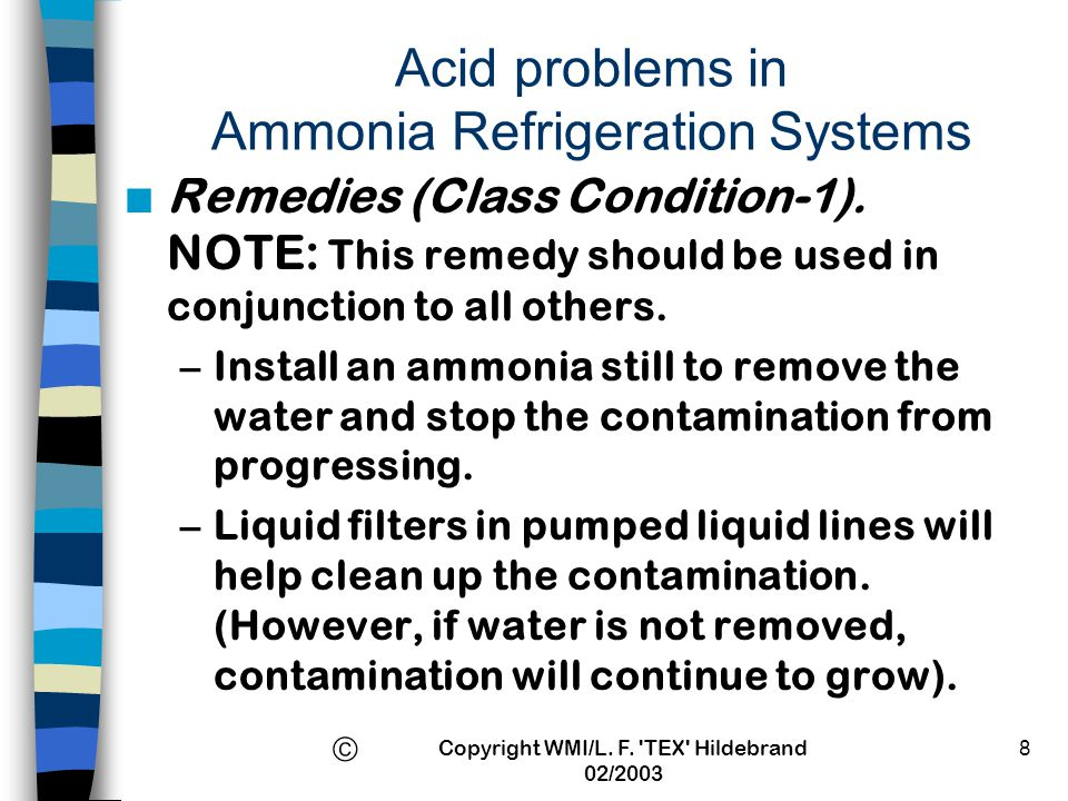 Acid problems in Ammonia Refrigeration Systems
