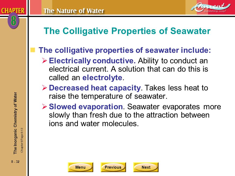 The Colligative Properties of Seawater