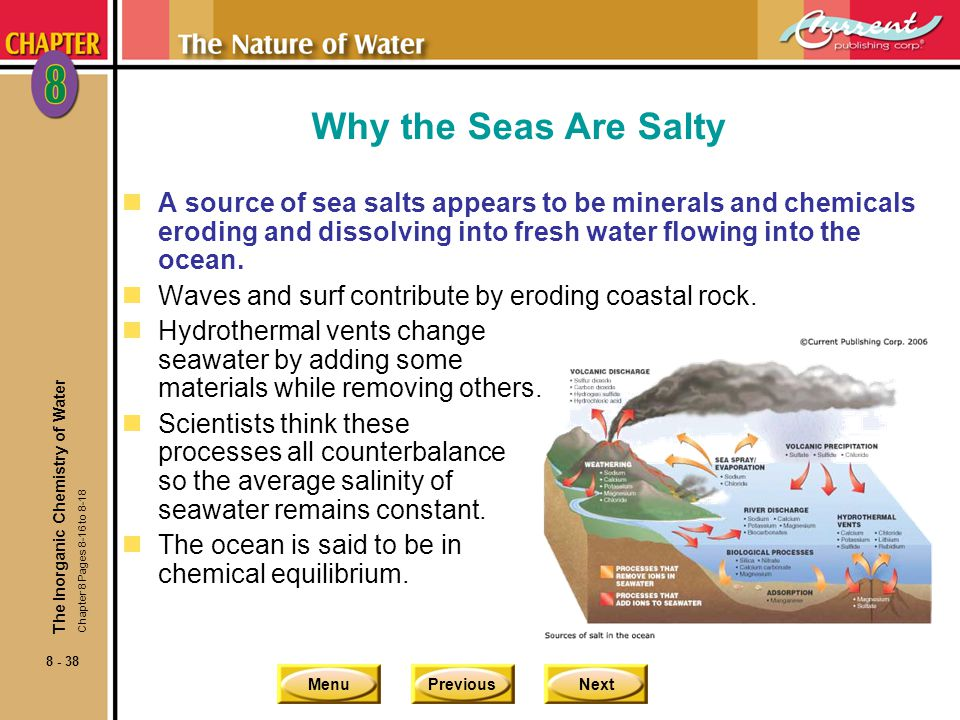 Why the Seas Are Salty A source of sea salts appears to be minerals and chemicals eroding and dissolving into fresh water flowing into the ocean.