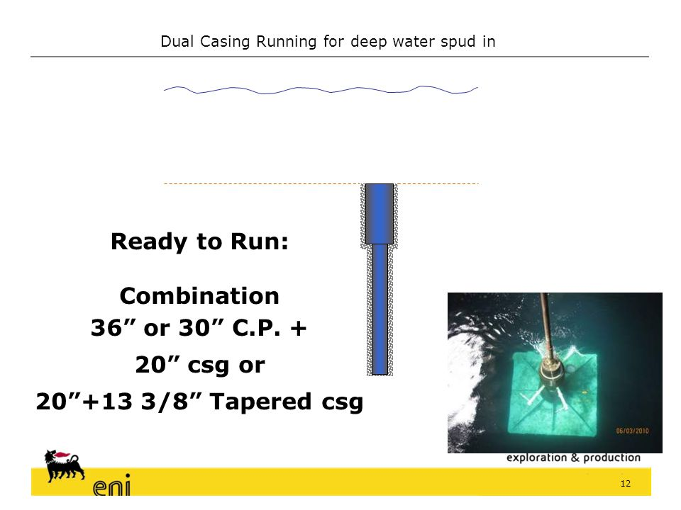 Ready to Run: Combination 36 or 30 C.P. + 20 csg or 20 +13 3/8 Tapered csg