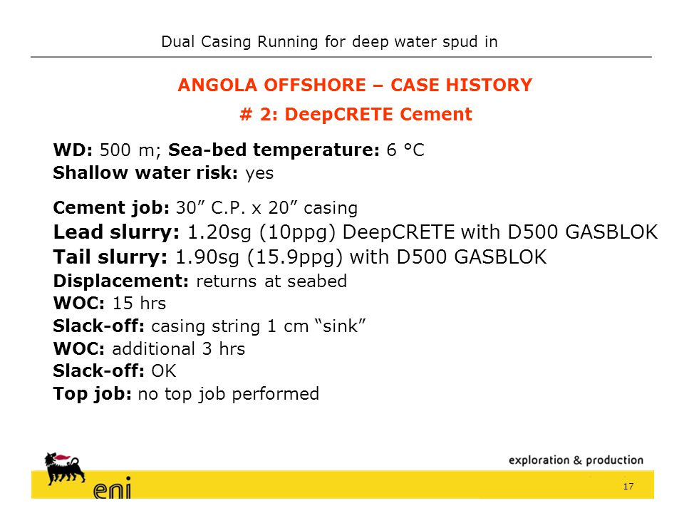 ANGOLA OFFSHORE – CASE HISTORY