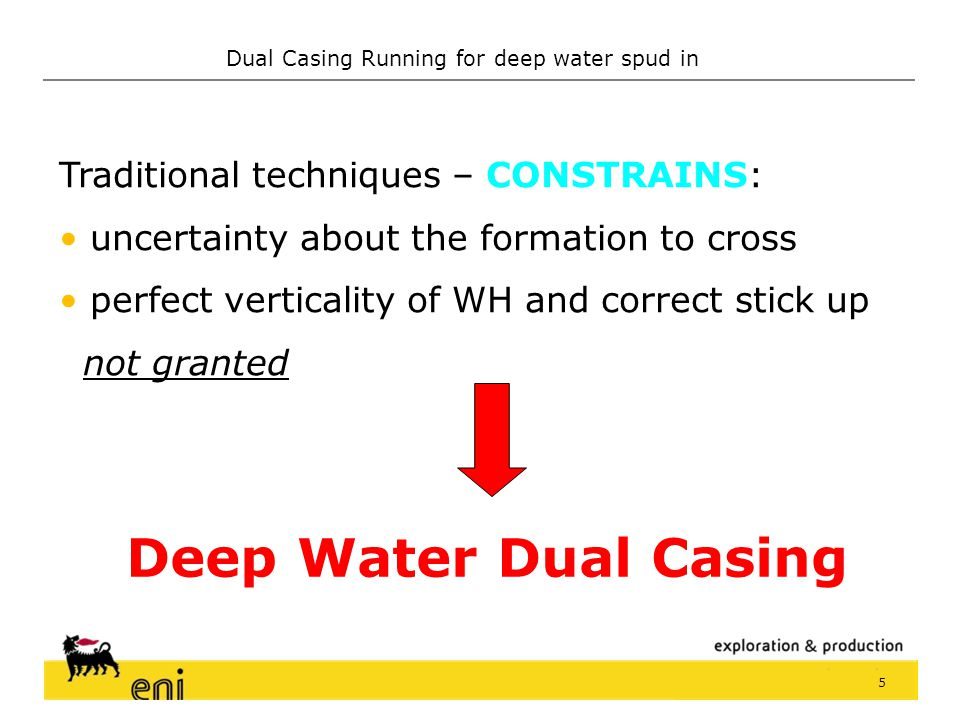 Deep Water Dual Casing Traditional techniques – CONSTRAINS: