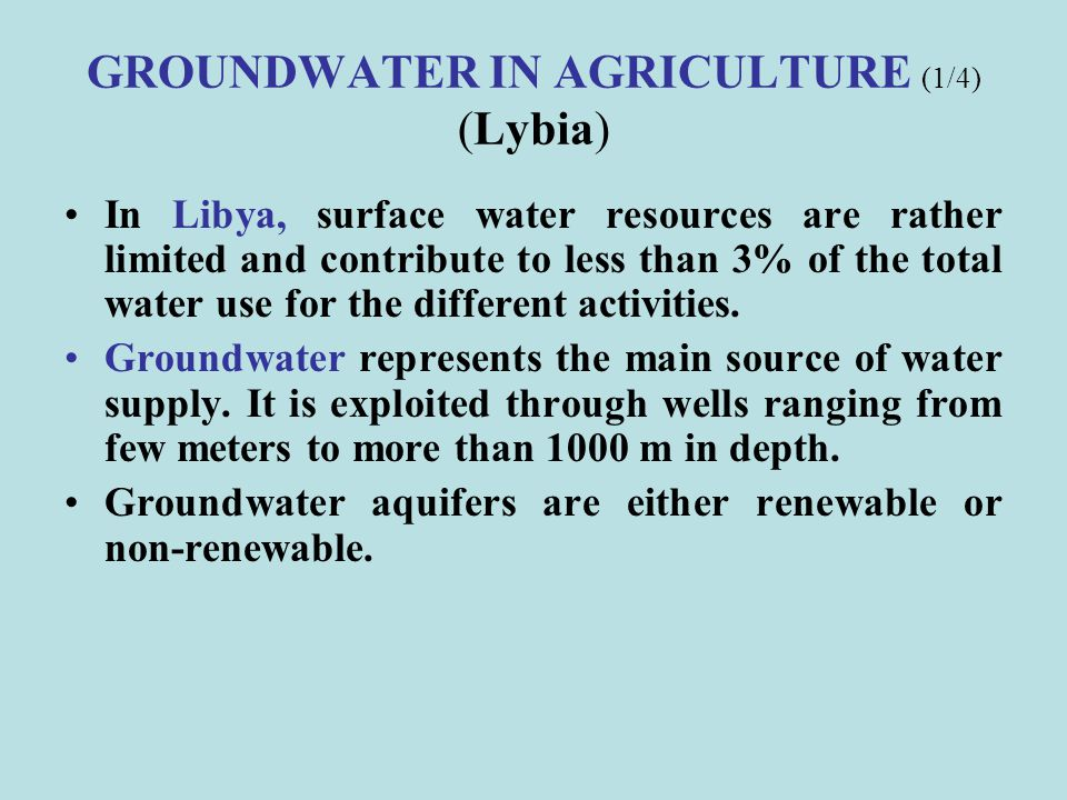 GROUNDWATER IN AGRICULTURE (1/4) (Lybia)