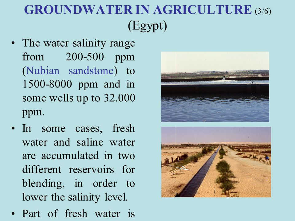 GROUNDWATER IN AGRICULTURE (3/6) (Egypt)