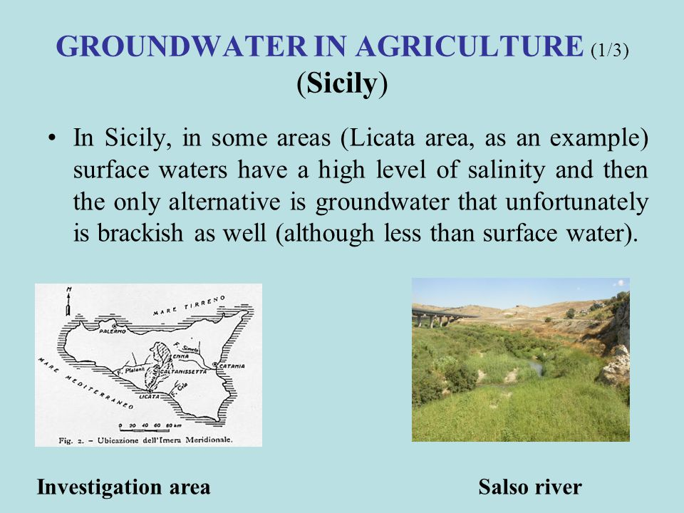 GROUNDWATER IN AGRICULTURE (1/3) (Sicily)