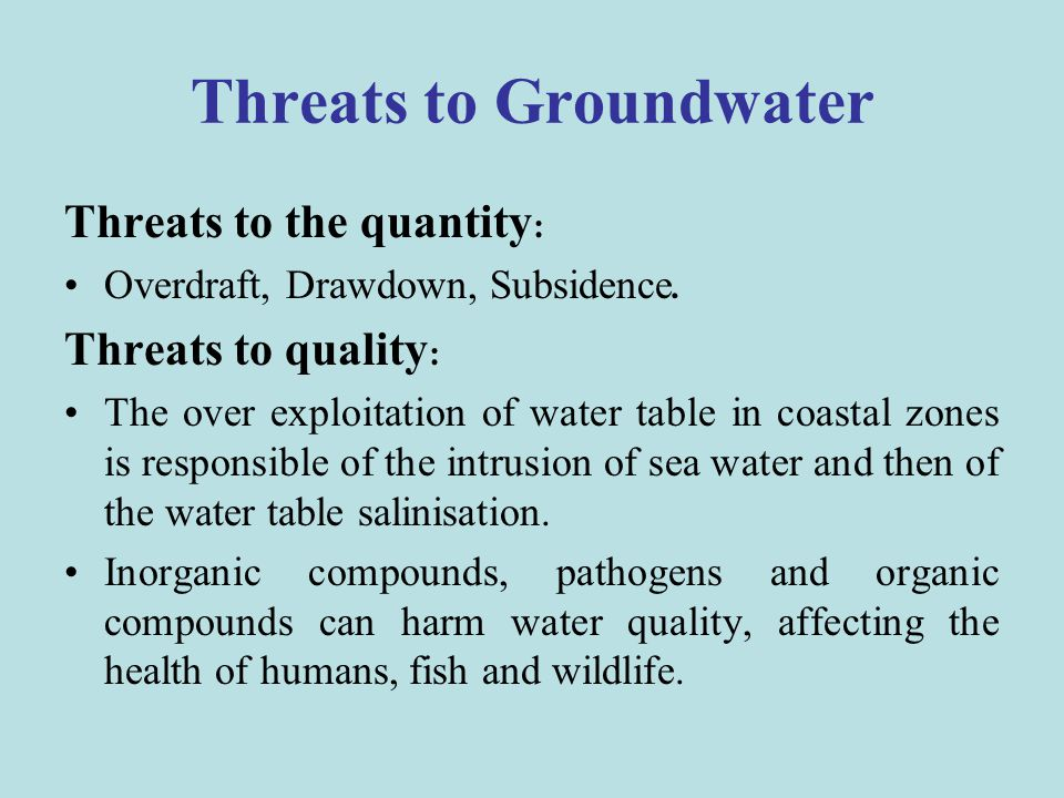 Threats to Groundwater
