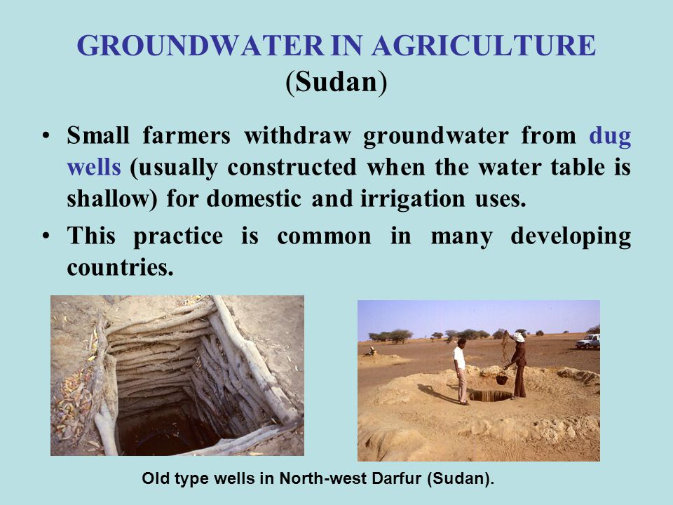 GROUNDWATER IN AGRICULTURE (Sudan)