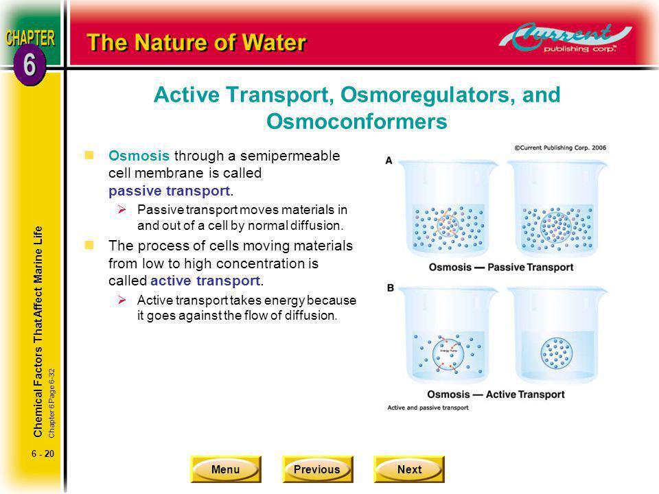 Active Transport, Osmoregulators, and Osmoconformers
