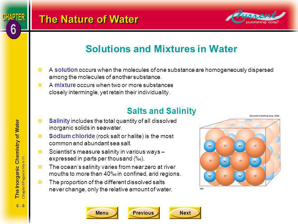 Solutions and Mixtures in Water