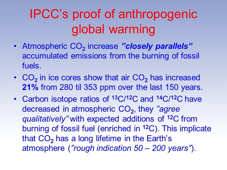 IPCC's proof of anthropogenic global warming