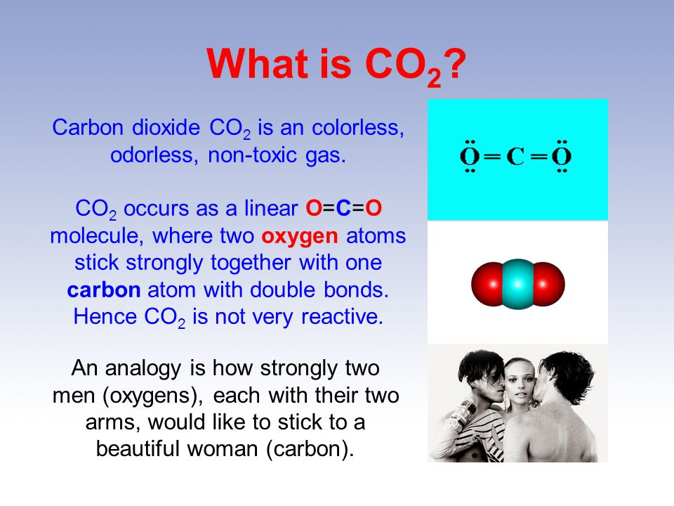 Carbon dioxide CO2 is an colorless, odorless, non-toxic gas.