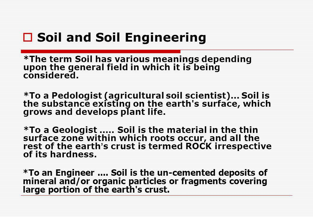 Soil and Soil Engineering