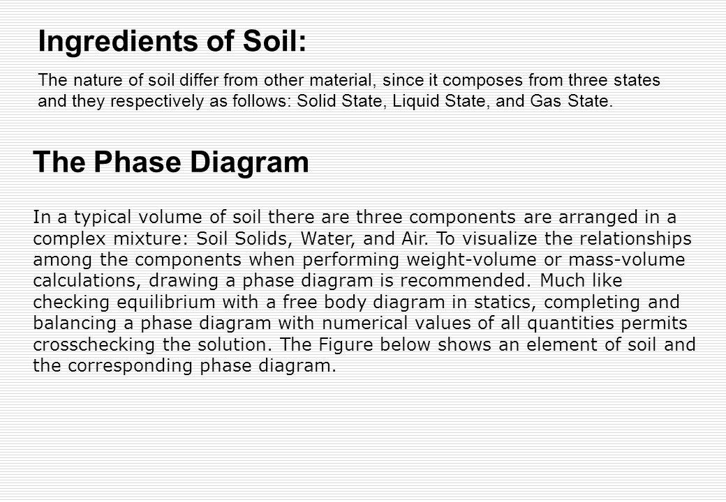 Ingredients of Soil: The Phase Diagram