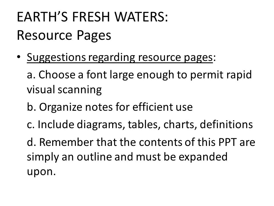 EARTH'S FRESH WATERS: Resource Pages