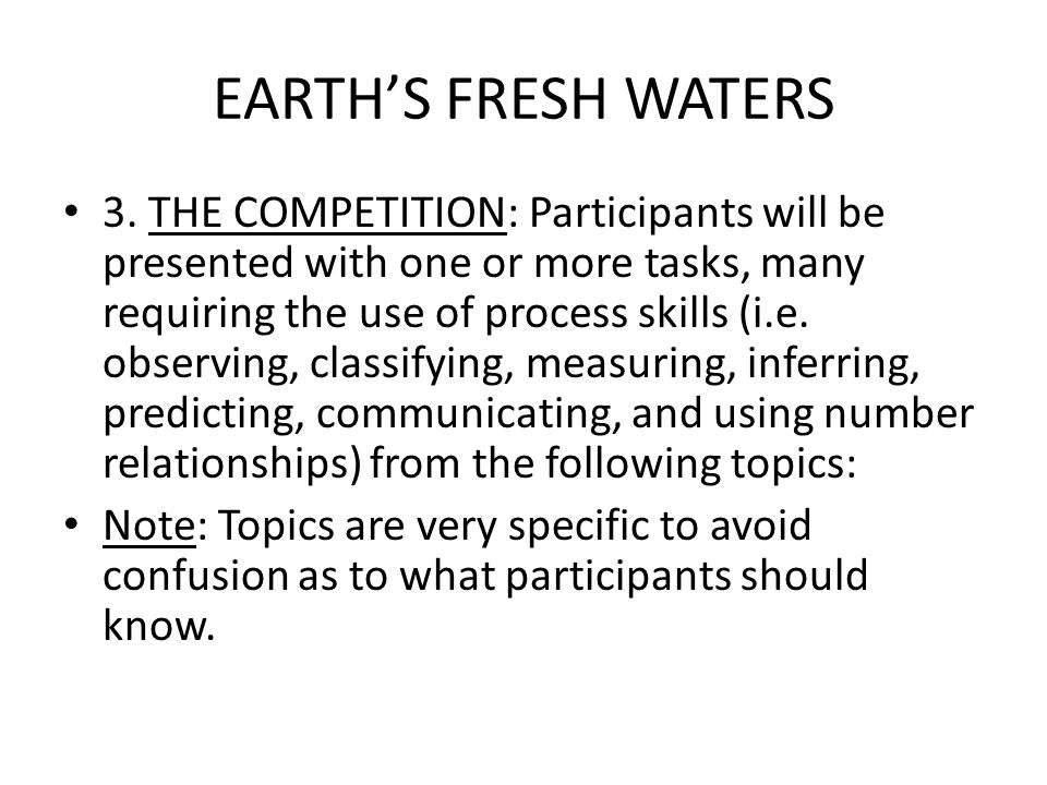EARTH'S FRESH WATERS