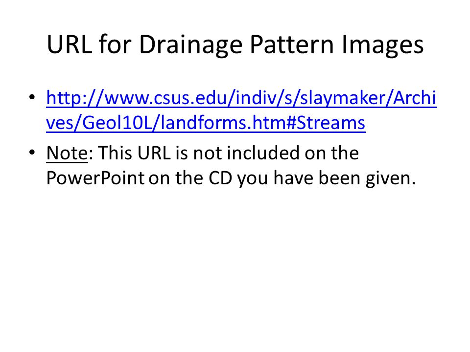 URL for Drainage Pattern Images