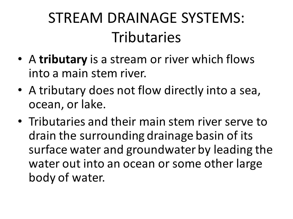 STREAM DRAINAGE SYSTEMS: Tributaries