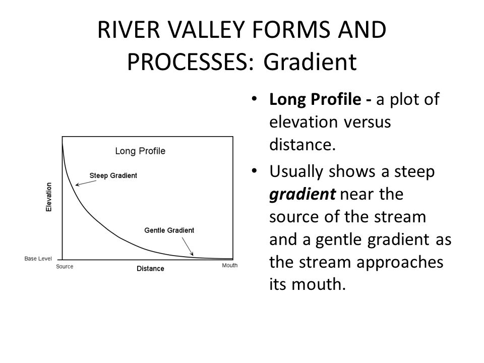 RIVER VALLEY FORMS AND PROCESSES: Gradient