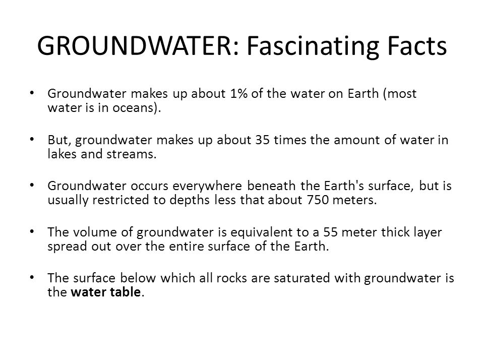 GROUNDWATER: Fascinating Facts