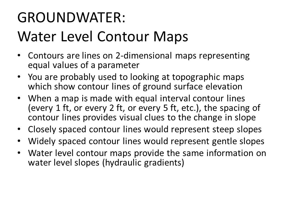 GROUNDWATER: Water Level Contour Maps