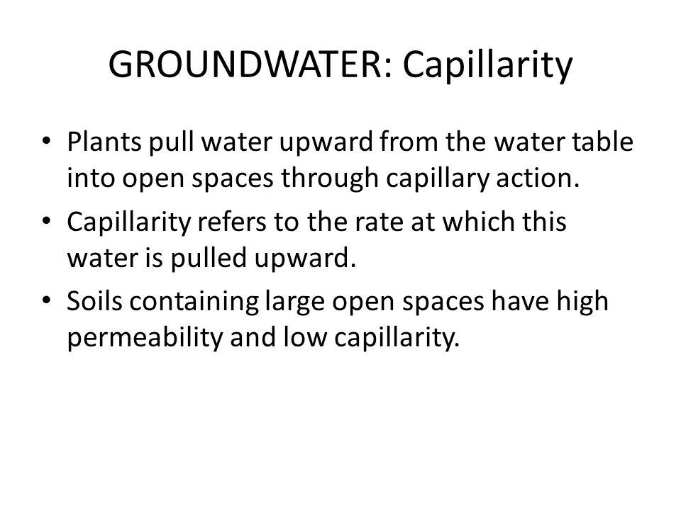 GROUNDWATER: Capillarity