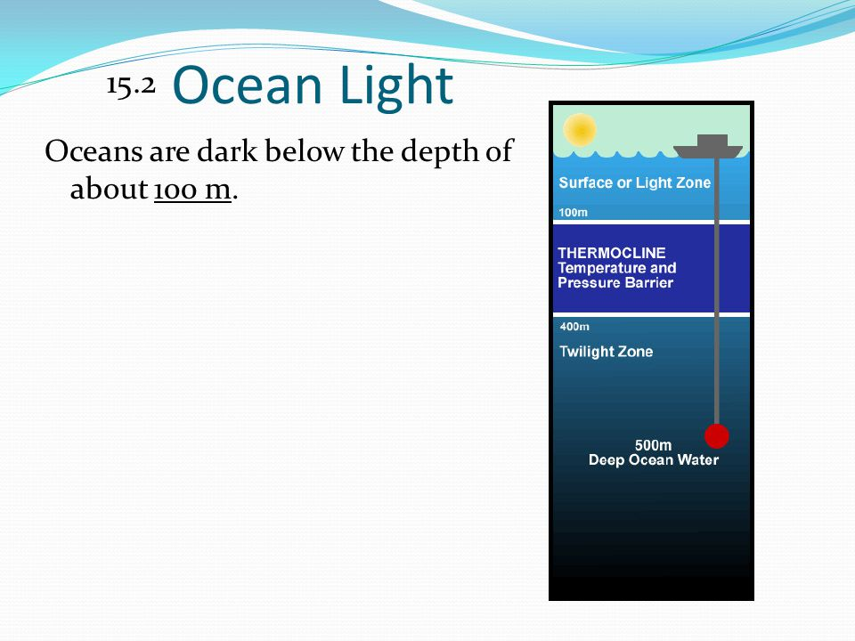 Ocean Light 15.2 Oceans are dark below the depth of about 100 m.