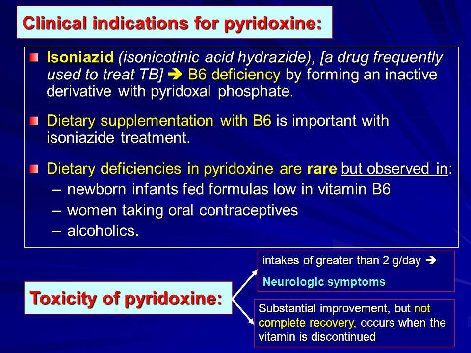 Clinical indications for pyridoxine: