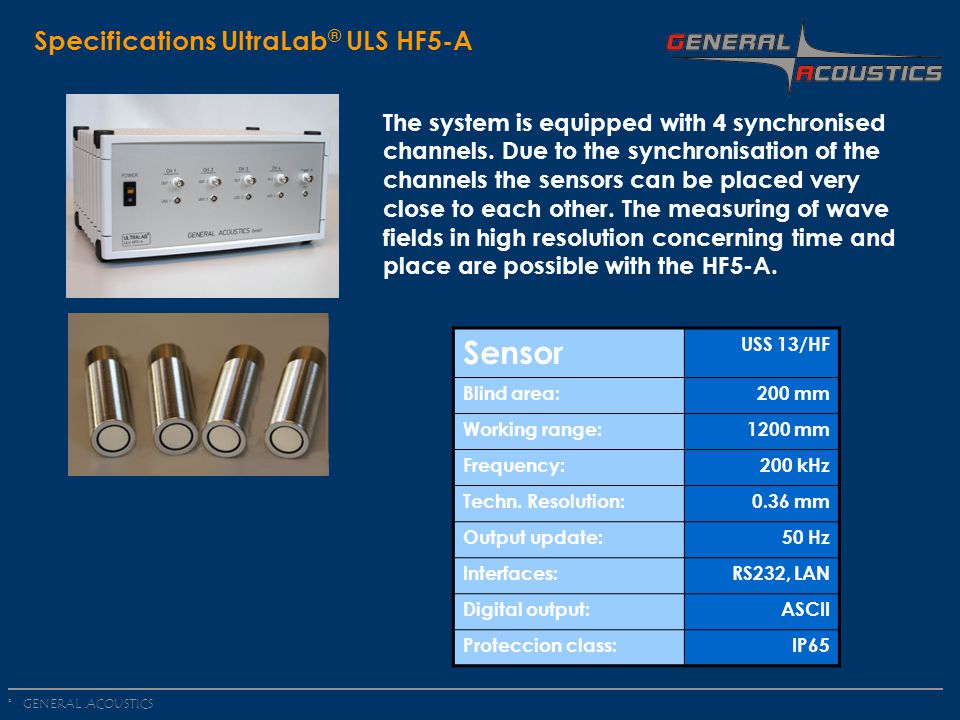 Sensor Specifications UltraLab® ULS HF5-A