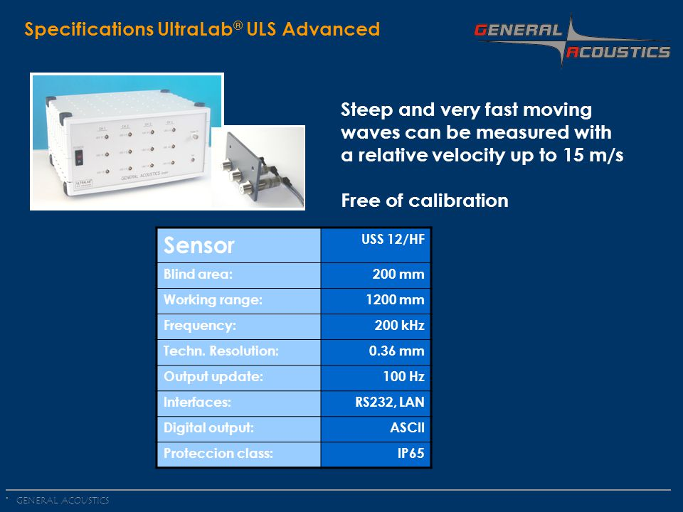 Sensor Specifications UltraLab® ULS Advanced