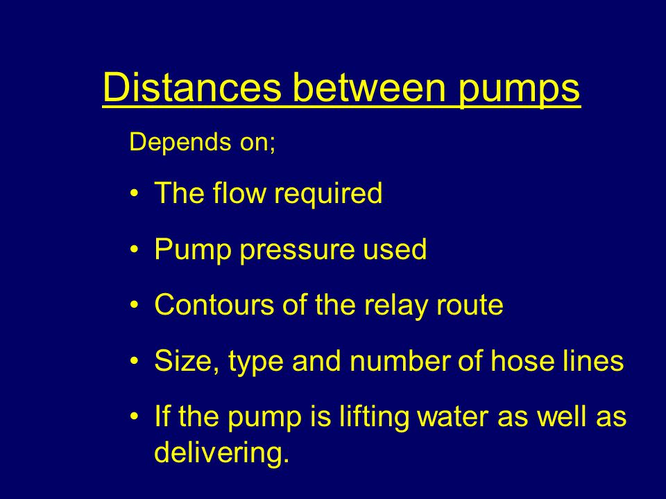 Distances between pumps
