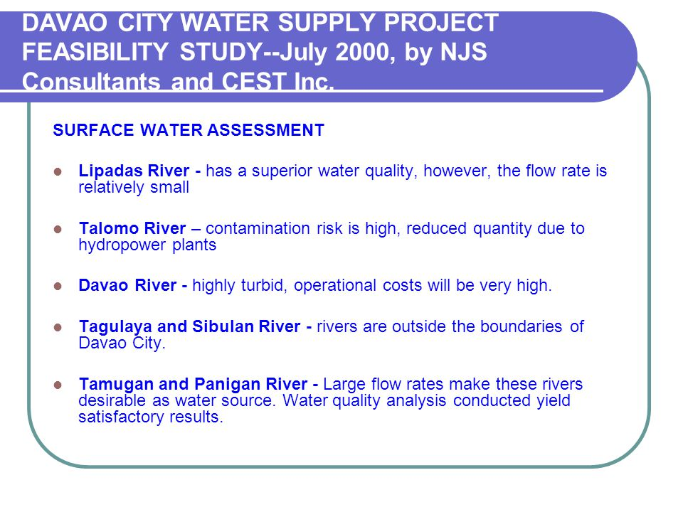 DAVAO CITY WATER SUPPLY PROJECT FEASIBILITY STUDY--July 2000, by NJS Consultants and CEST Inc.