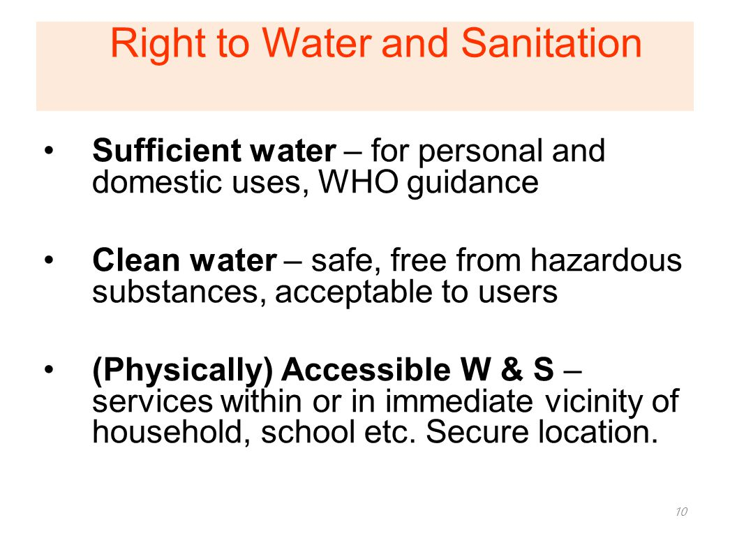 Right to Water and Sanitation