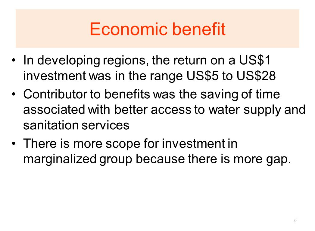 Economic benefit In developing regions, the return on a US$1 investment was in the range US$5 to US$28.
