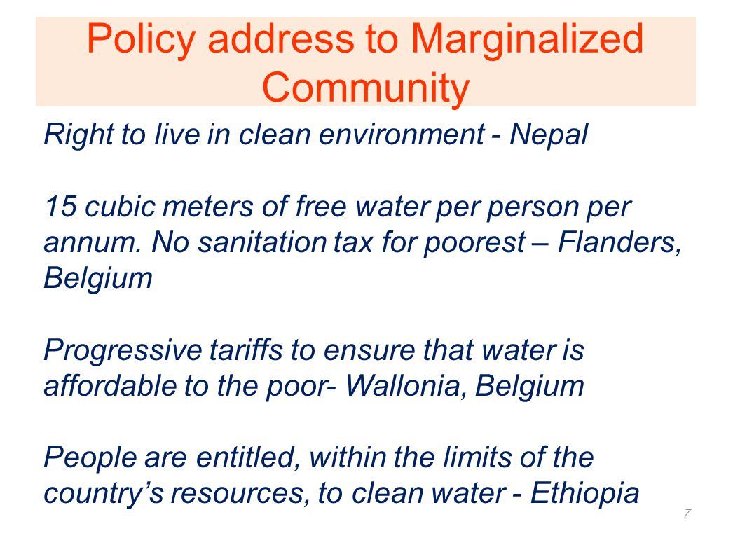 Policy address to Marginalized Community