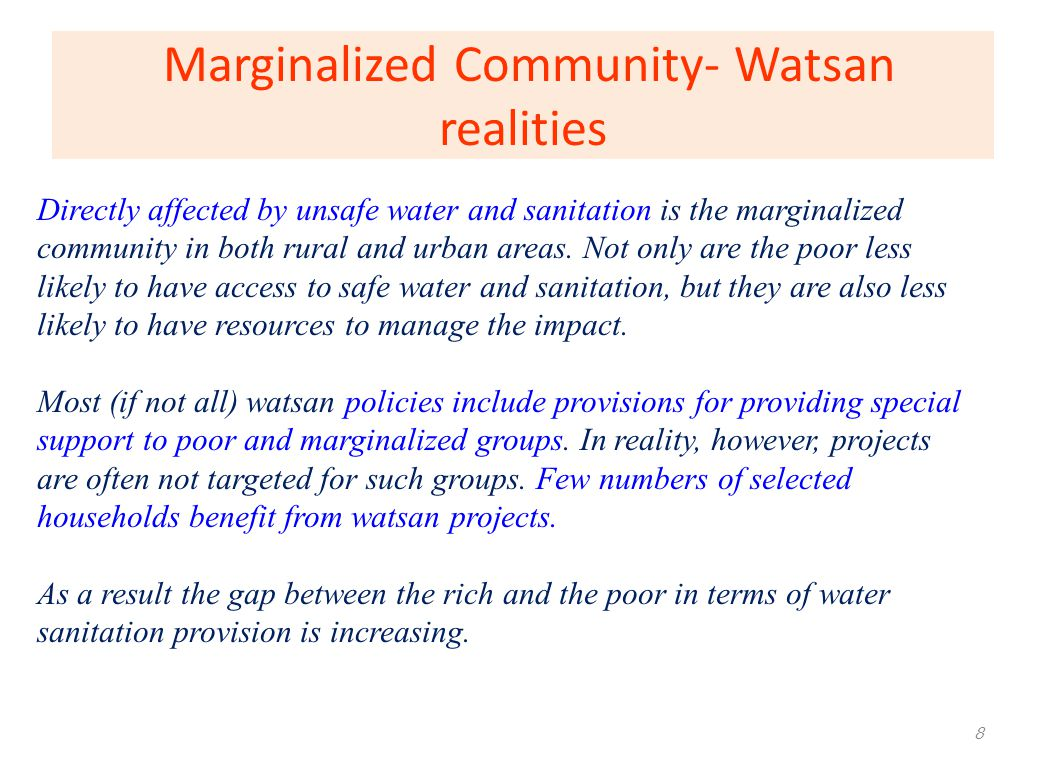 Marginalized Community- Watsan realities
