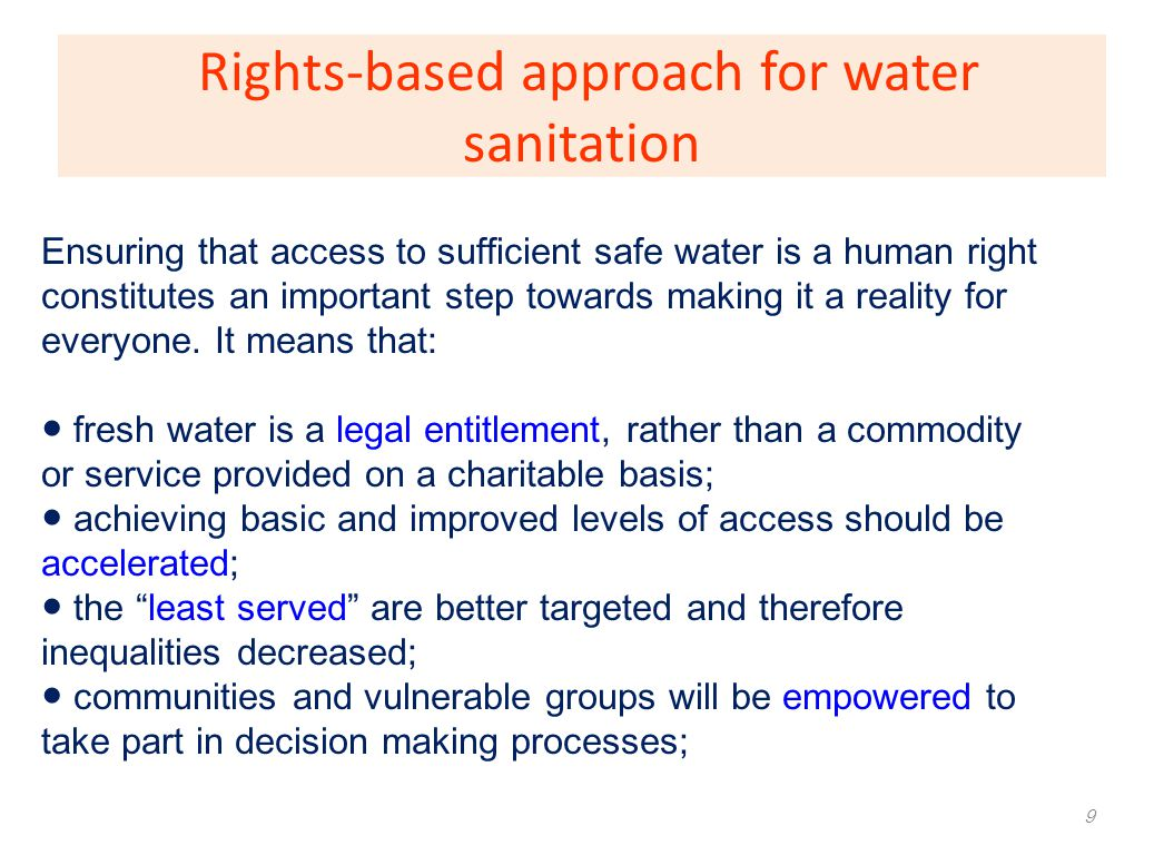 Rights-based approach for water sanitation