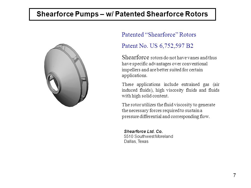 Shearforce Pumps – w/ Patented Shearforce Rotors