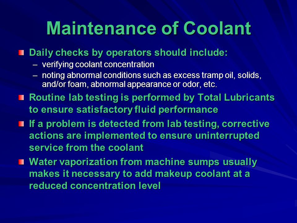 Maintenance of Coolant